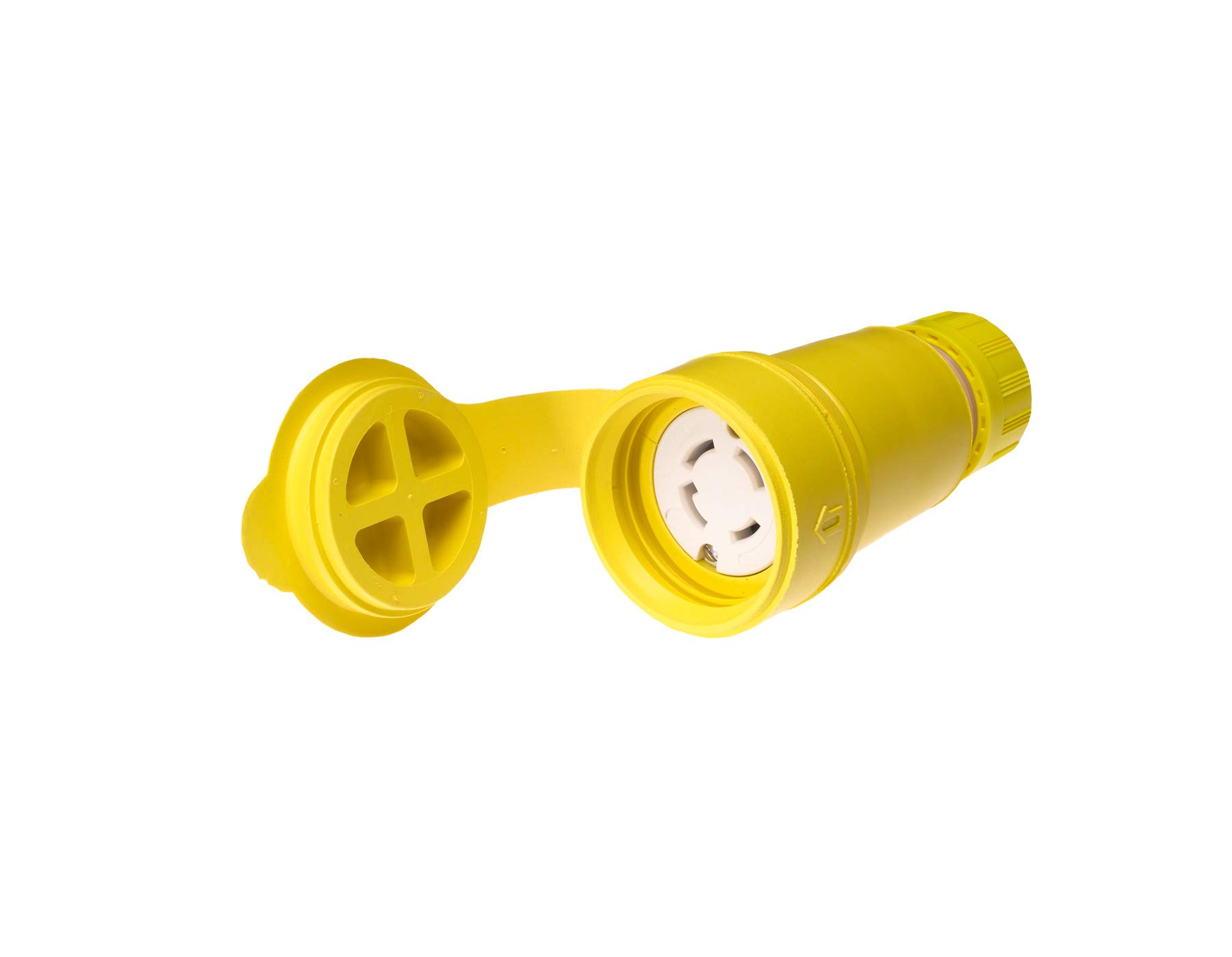 Woodhead 29W76 Watertite Wet Location Locking Blade Connector, 3-Phase, 4 Wires, 3 Poles, NEMA L16-30 Configuration, Yellow, 30A Current, 480V Voltage