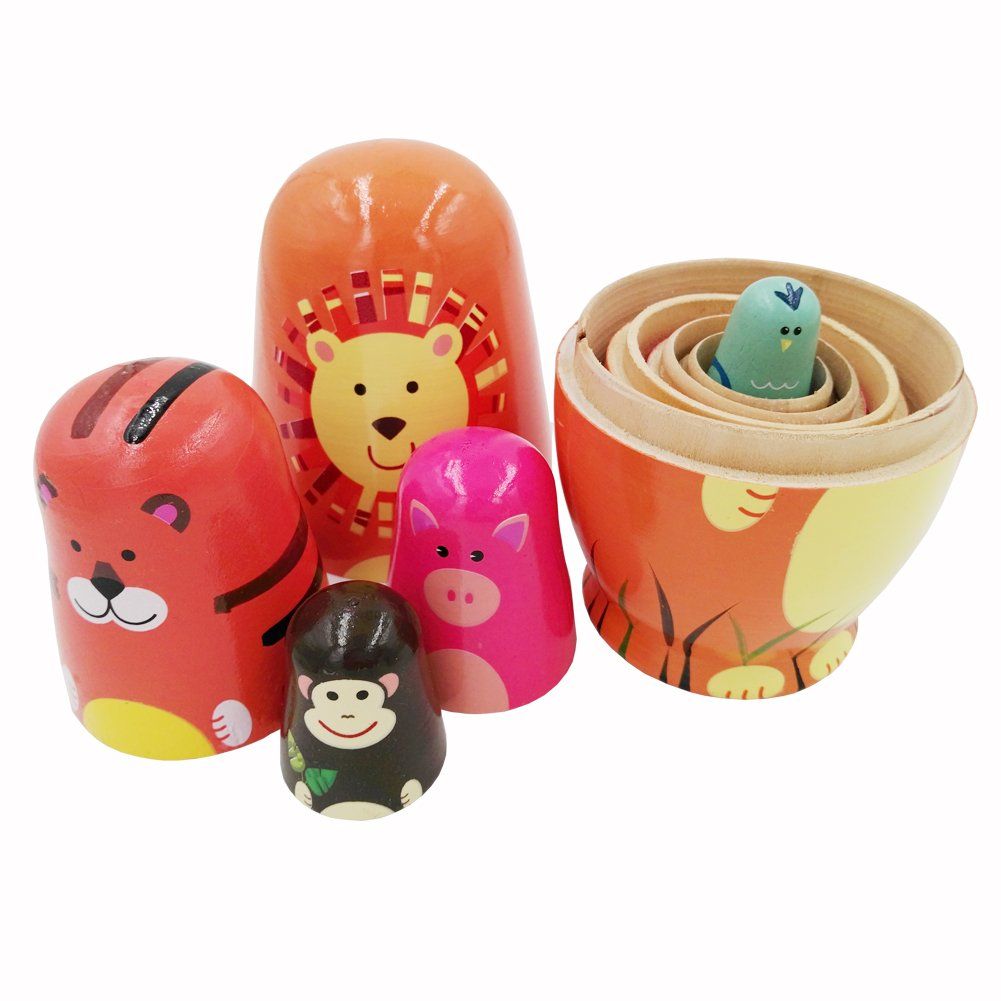 Echodo 5pcs Handmade Animal Nesting Dolls Authentic Russian Wooden Matryoshka Dolls Cute Cartoon Animals Pattern Nesting Doll Toy Gift by Echodo (Image #1)