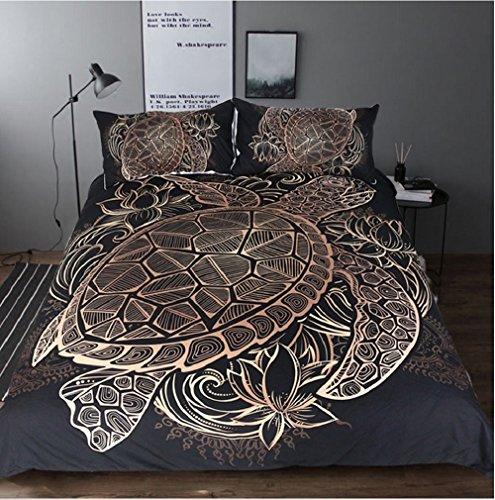 Duvet Cover Bedding 3pcs Luxury Set Printed Microfiber Golden Sea Tortoise Lotus California King Queen Twin Full Hotel Home Decor (Queen) by Beddingoutlet