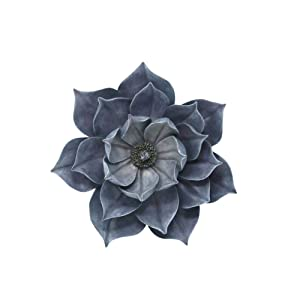 Benzara Utterly Fascinating Resin Lotus Wall Flower Decor, Blue Home Accent, 11.25 x 10.75 x 3.25 Inches