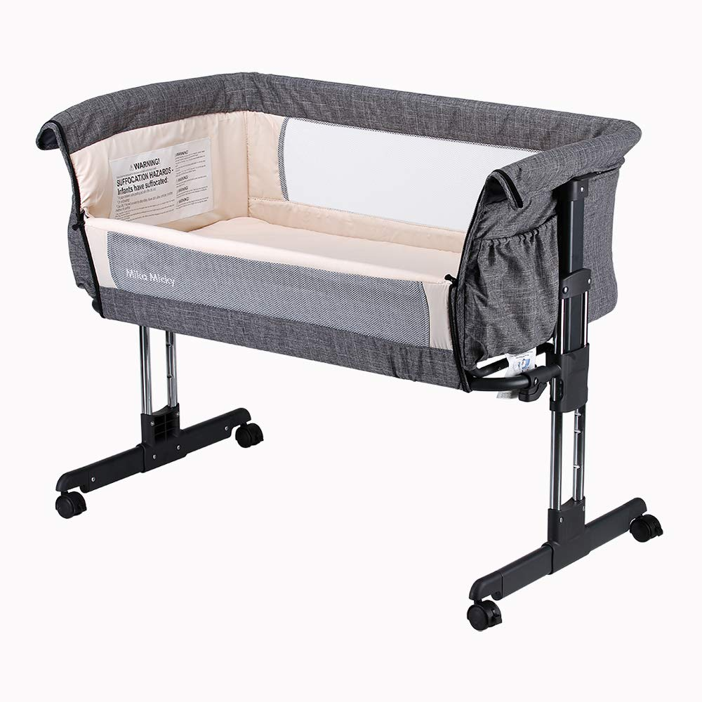 Mika Micky Bedside Sleeper Easy Folding Portable Crib,Grey by Mika Micky
