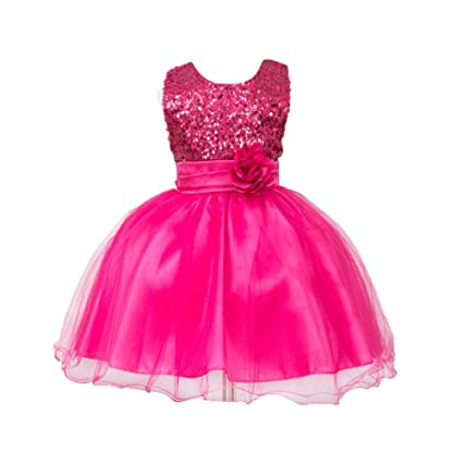 bc58d6e26eae Amazon.com: Gotd Infant Toddler Baby Girl Sequins Sleeveless Tutu Princess  Dress Clothes Winter Outfits Christmas Holiday (12-18 Months, Hot Pink):  Musical ...