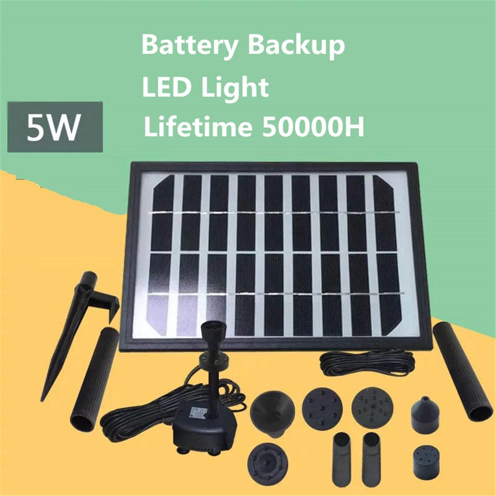 9V/5W Solar Fountain Water Pump Kit With Battery Backup And LED Lights Solar Power Panel Upgraded Submersible Sprayer Pumps 220L/H by Pei