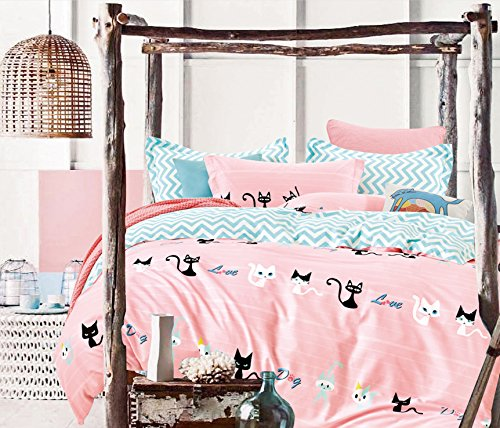 Cliab Pink Cat Bedding for Girls