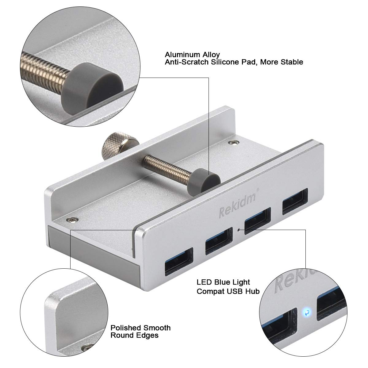 USB Hub 3.0 Silver PC Table Edge with Durable Adjustable Clip Compact Space-Saving Mountable USB Hub Fast Speed Transfer Computer Rekidm 4 Port Aluminum USB 3.0 Hub Clamp Design for Desktop