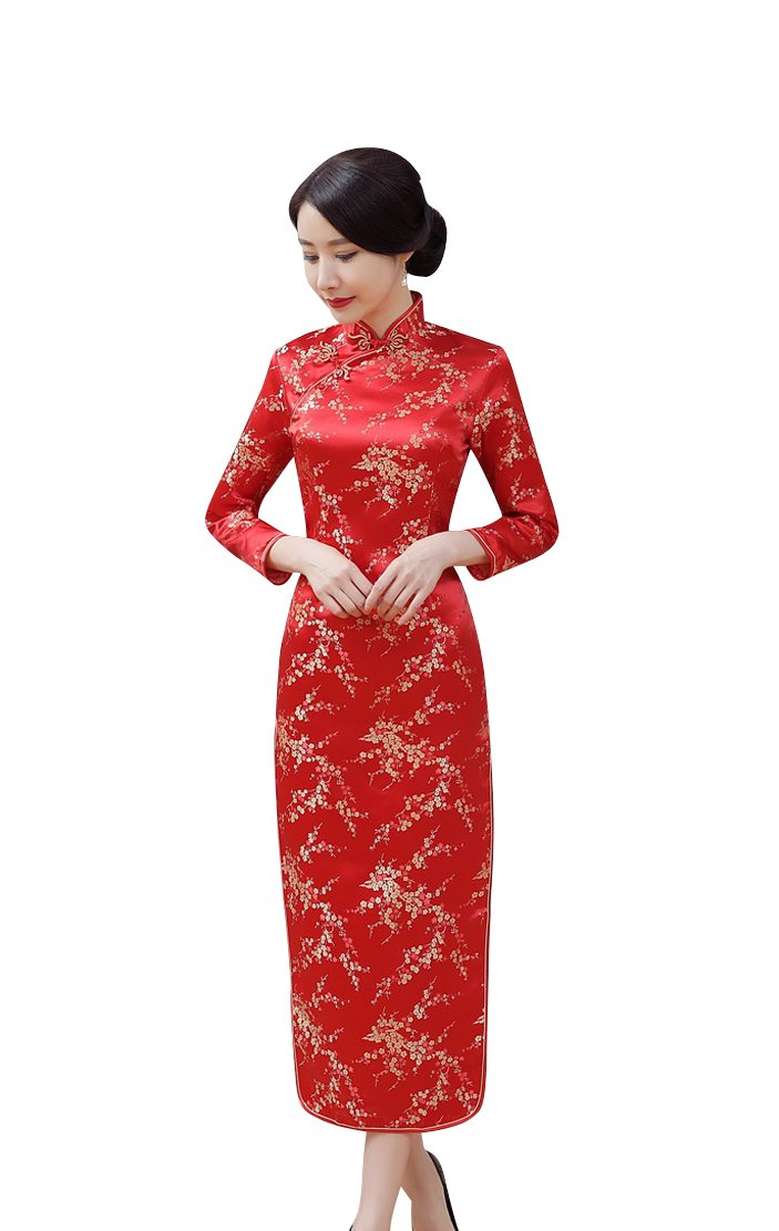 ACVIP Women 3/4 Sleeve Floral Chinese Qipao Cheongsam Wedding Dress Bodycon (China S/Bust:31.9'')