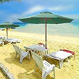 Cheap 9ft Wooden Outdoor Patio Green Umbrella W/ Pulley Market Garden Yard Beach Deck Cafe Decor Sunshade