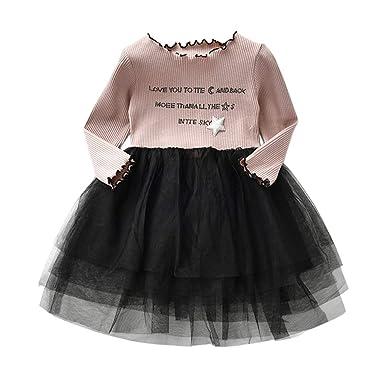 YpingLonk Vestido De Princesa Letra Parche Brillantes Niña Raya ...
