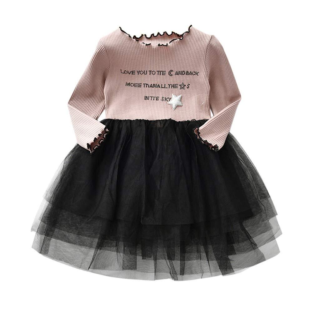 TPulling Kleinkind Infant Baby Kinder Mädchen Brief Tutu Tüll Prinzessin Kleid Outfits Kleidung
