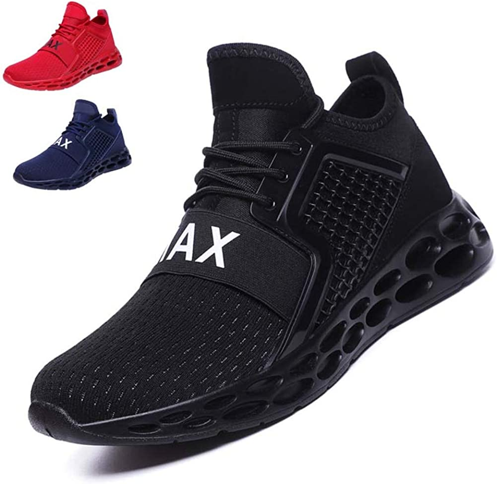 Gobeter Men Walking Tennis Trail Running Athletic Shoes Men s Lightweight Casual Fashion Sneakers G15 hei43 , Black1, 9.5