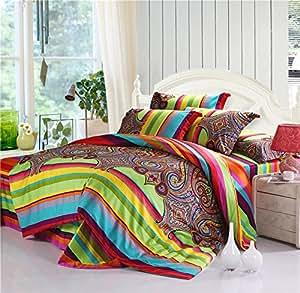 thefit bohemian bedding k2 bohemian duvet covers boho bedding set queen king 4pcs. Black Bedroom Furniture Sets. Home Design Ideas