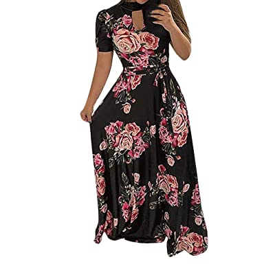 YJYdada_ Blouse Women Floral Dress Ladies Summer Evening Holiday Party Long Tunic Sundress (2XL, Black): Toys & Games