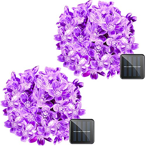 VMANOO Solar Outdoor Christmas String Lights 21ft 50 LED Fairy Flower Blossom Decorative Light for Indoor Garden Patio Party Xmas Tree Decorations 2-Pack (Purple)