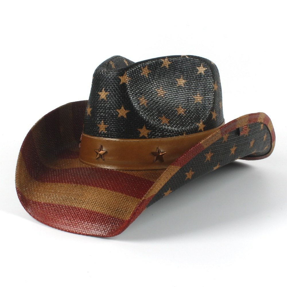 CP & YR 2018 New American Flag Cowboy Hat for Women and Men Sun hat Jazz Hat (Color : Black, Size : 58-59cm)