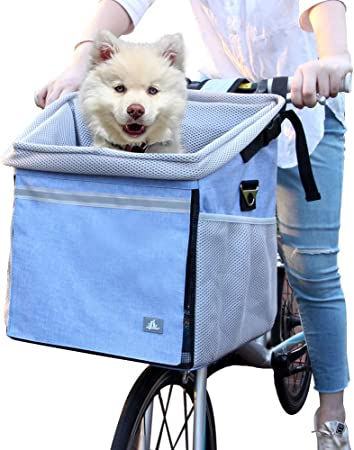 RAYMACE Dog Bike Basket Bag with Reflective Stripe Multipurpose Pet Carrier for Dogs and Cats - Multifunctional Bike Basket