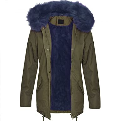 Ladies Jacket Brave Soul Parka Coat Hooded Fur Sherpa Fleece Lined ...