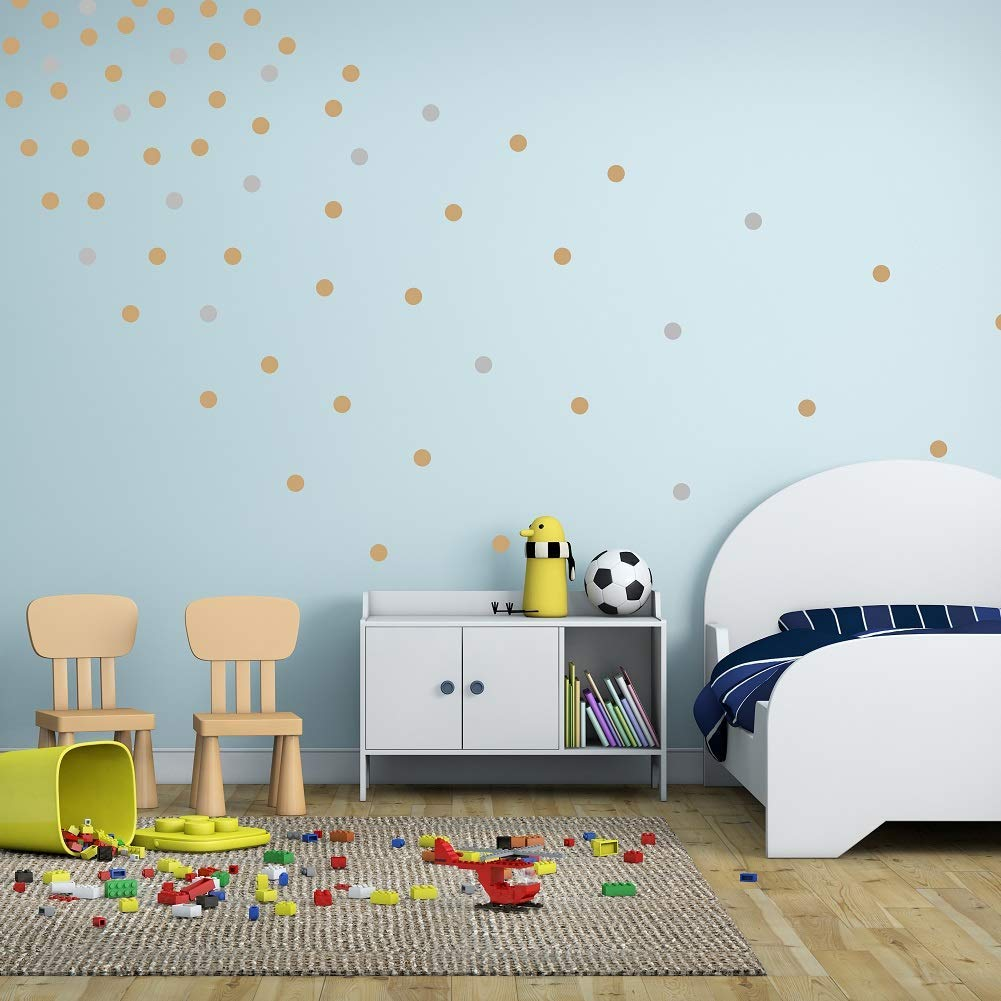 EXPAWLORER Wall Stickers Dots Decor for Room Bathroom Gold /& Silvery HAOBO WS001-GS-1 192Pcs Removable Round Art Stickers Easy Peel for Nursery Room
