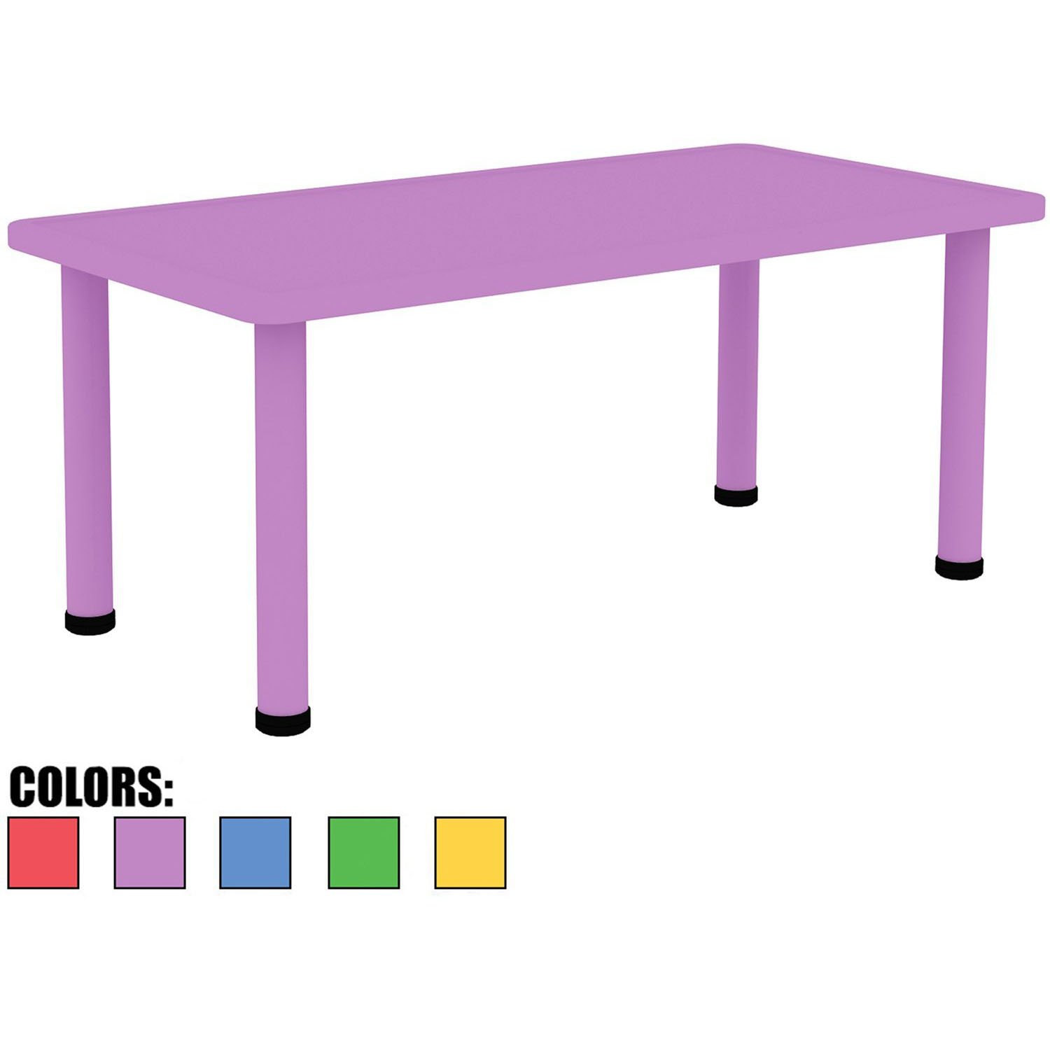 "2xhome - Purple - Kids Table - Height Adjustable 18.25'' - 19.25'' Rectangle Shape Child Plastic Activity Table Bright Color Learn Play School Home Fun Children Furniture Round Safety Corner 24""x48'' by 2xhome (Image #1)"