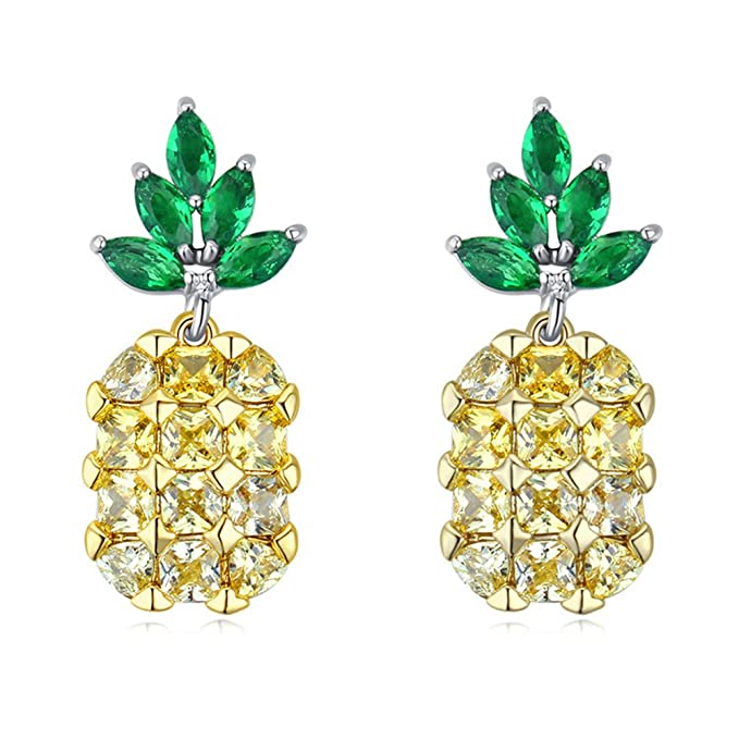 New Fifties Dresses | 50s Inspired Dresses BEAUTY Yellow Pineapple Earring Fashion Retro Colorful Alloy Crystal Party Jewelry For Lady and girls $9.88 AT vintagedancer.com