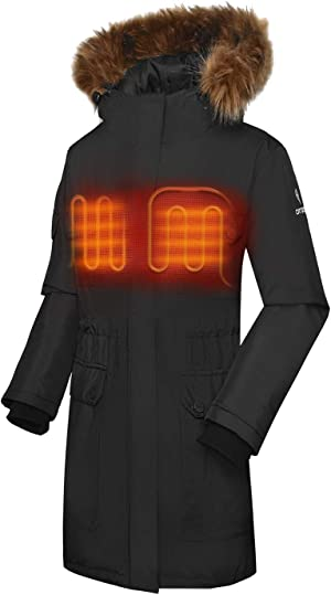 ORORO Women's Heated Parka Jacket with Thermolite Insulation (Battery Included)