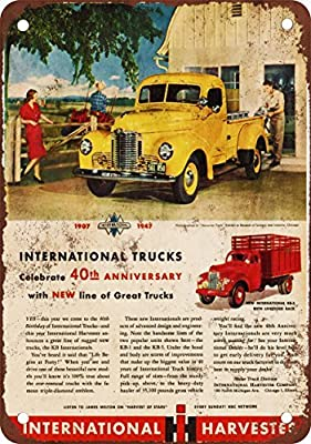 1947 International Trucks Vintage Look Reproduction Metal Tin Sign 8X12 Inches