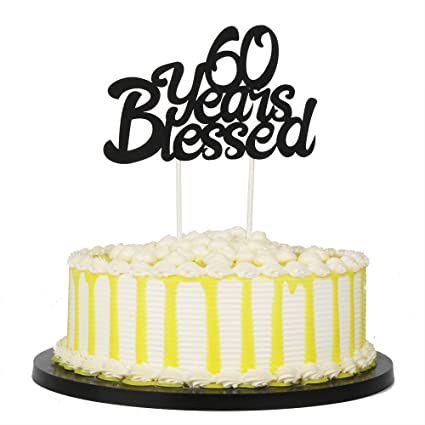 Amazon PALASASA Black Single Sided Glitter 60 Years Blessed