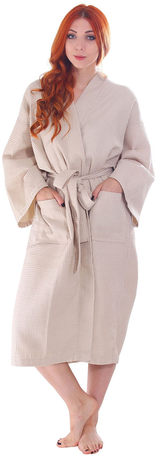 Koni Robe, Micro Denier, Waffle Kimono, Size: Small (with Carrying Bag and Wooden Hanger)