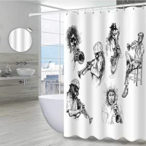 """Jazz Music Decor Shower Liner 72"""" W x 96"""" L, Sketch Image of Jazz Players Playing Instruments Trumpet and Saxophone Music Decor Machine Washable Privacy Curtain, Black White"""
