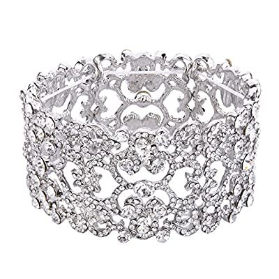 EVER FAITH Women's Austrian Crystal Bride Heart Art Deco Elastic Stretch Bracelet Clear