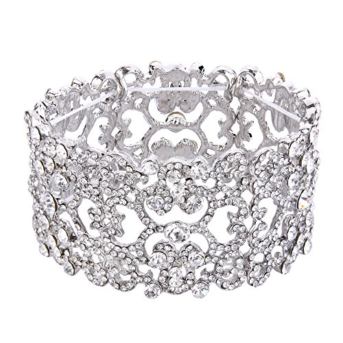 EVER FAITH Women's Austrian Crystal Bride Heart Art Deco Elastic Stretch Bracelet Clear Silver-Tone