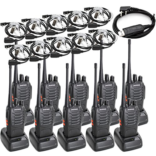 Long 10 Pieces - Baofeng BF-888S Two Way Radio Long Range 16 CH Baofeng Radio and Covert Air Acoustic Tube Earpiece (Pack of 10)