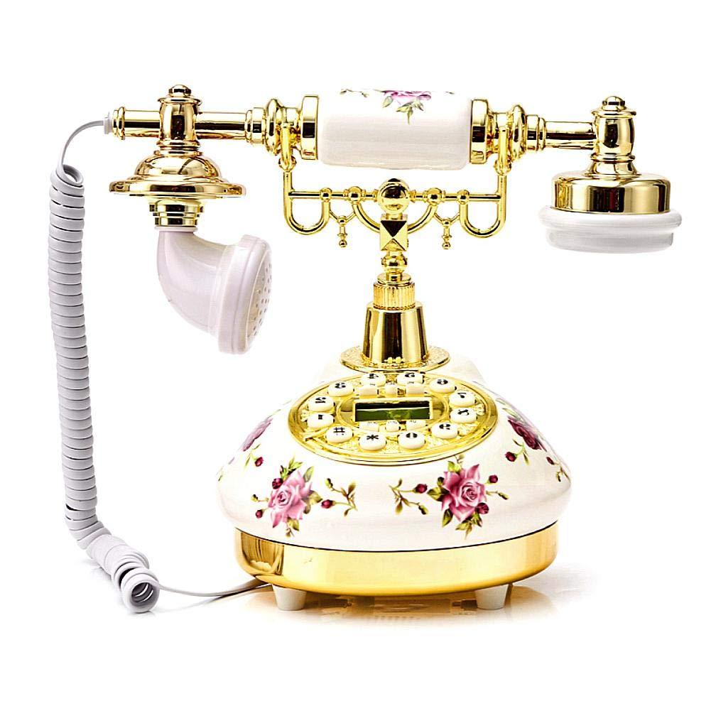 Futureshine Ceramic European Telephone, American Retro Telephone, Antique Landline, Rose Desktop High-end Decorative Telephone for Home Office by Futureshine