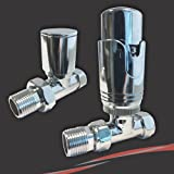 Thermostatic Straight Chrome Valve Set - Heated Towel Rail / Radiator Slimline TRV Valves (Pair of)