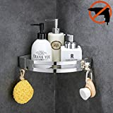 HOOMTAOOK Shower Corner Caddy Bathroom Shelf Rustproof Wall Mount No Drill Glue+Adhesive Stainless Steel for Kitchen Storage 1 Tier(Silver)