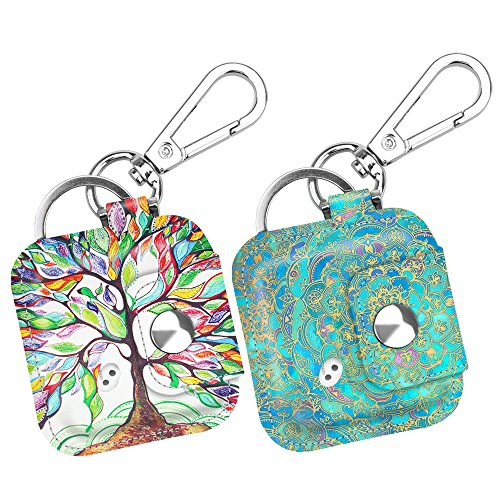 - (2 Pack) Fintie Case with Carabiner Keychain for Tile Mate, Tile Pro, Tile Sport, Tile Style Key Finder Phone Finder, Anti-Scratch Vegan Leather Protective Skin Cover, Love Tree+Shades of Blue