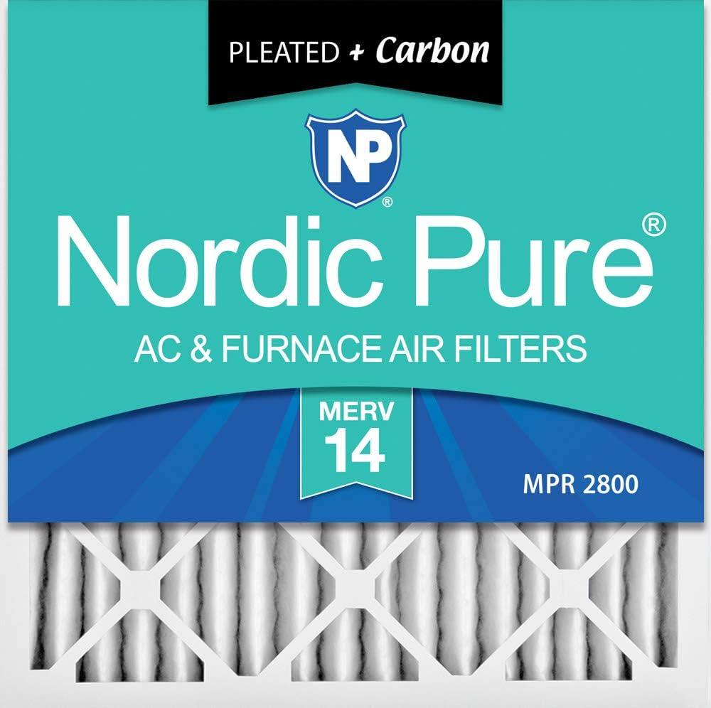 Nordic Pure 16 x 16 x 2 m14 + c-3 MERV 14 PlusカーボンAC炉エアフィルタ、qty-3