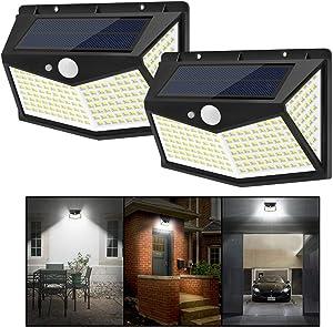 JKZJ 212 LEDs Solar Lights Outdoor with 3 Modes, Wireless & Waterproof Solar Motion Sensor Wall Lights Patio Lights Garden Lights(2-Pack)