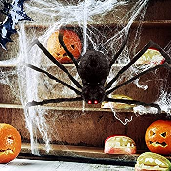 """HOTSAN Giant Halloween Spider 50"""" Large Fake Spider Outdoor Halloween Decorations - Quake and Squeak with Spooky Voice when Touch"""
