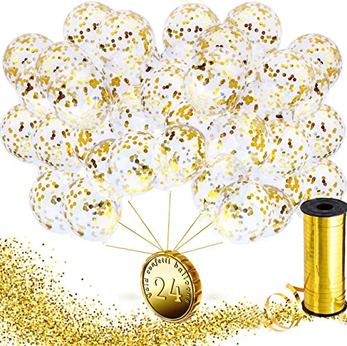 Gold Confetti Balloons 12 inch - Party Decorations - Wedding Party Supplies - Birthday Decorations - Bachelorette Party Clear Latex Balloons - Gold Ribbon - Prefilled Confetti Dots - 24 (Best Place To Buy Helium Balloons)