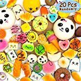 BUDI 20 Pcs Kawaii Squishies Slow Rising Jumbo/Medium/Mini Random Cake Bread Panda Bun with Phone Straps Kids Pretend Play Squishies Charms (Squishies 20Pc)