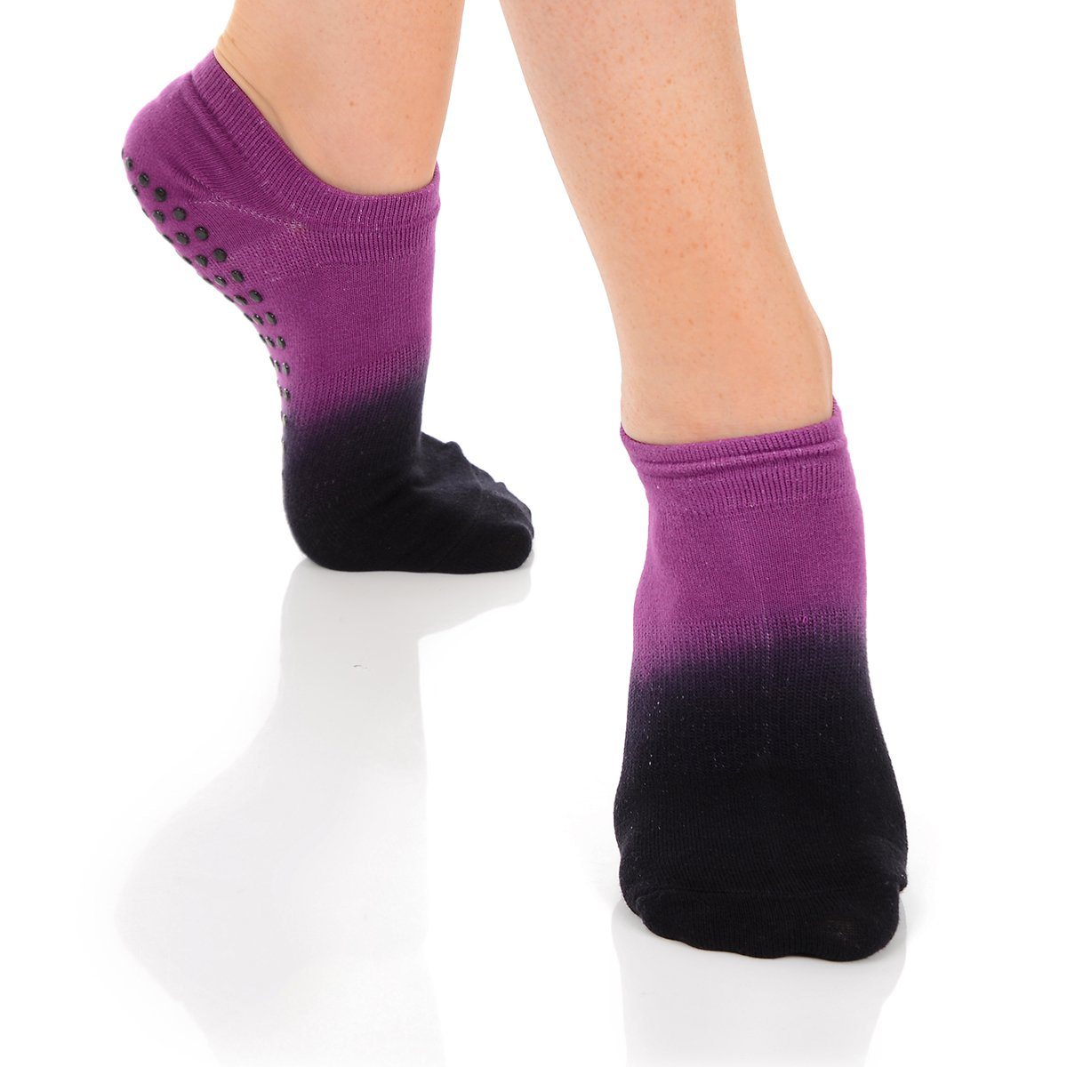 Great Soles Ombre Dyed Grip Socks for Women - Non Slip Yoga Socks for Pilates, Barre, Ballet (Berry/Black)