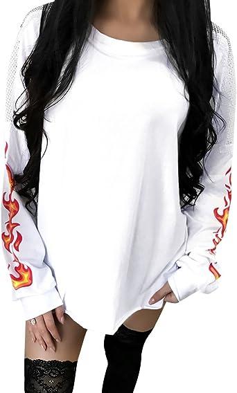 Camisetas Oversize Mujer con Imprimir Sudadera Mangas ...