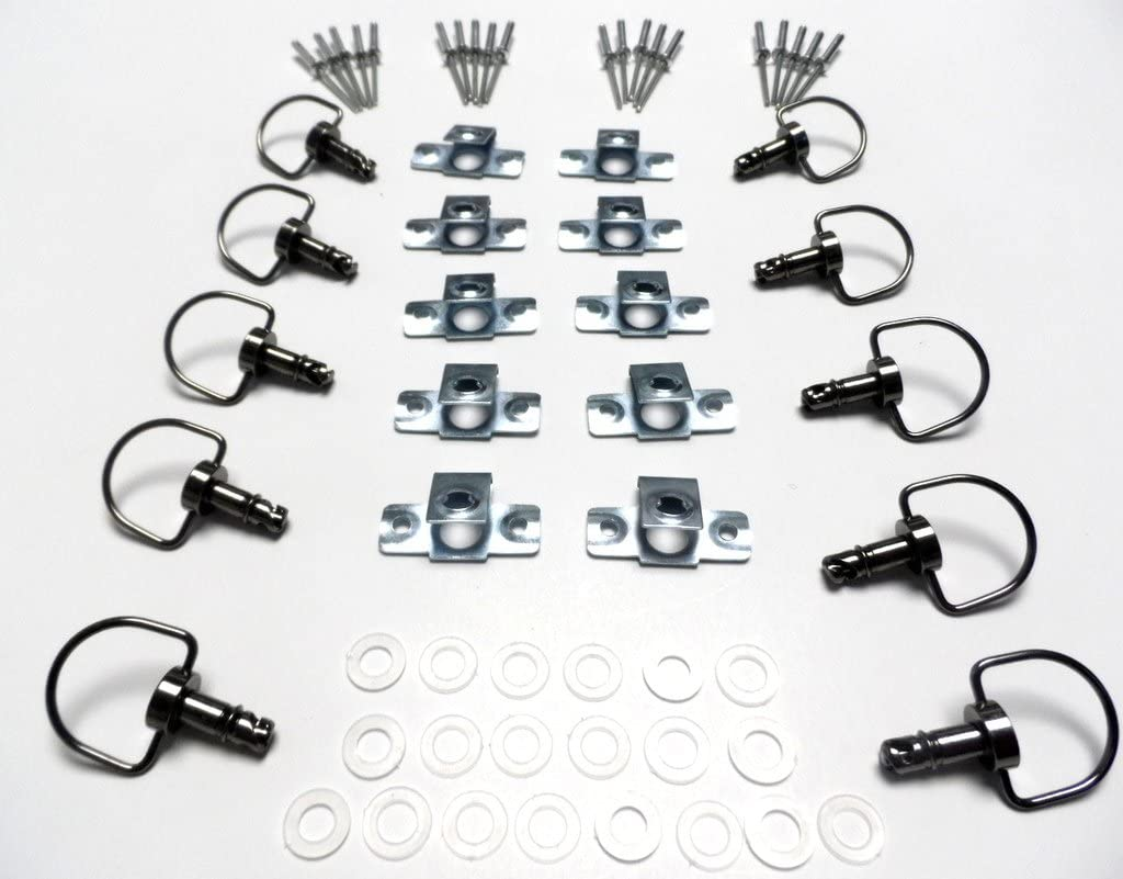 Motorcycle Race Fasteners Quick Release 17mm D-Ring 1//4 Turn Fairing Fastener Rivet Style Black Chrome x10 Sets