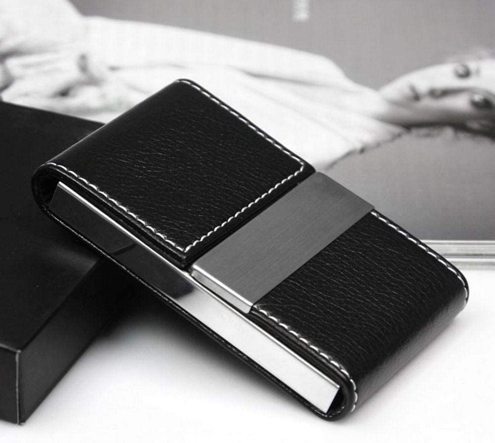 Qingb Double Open Business Brand Credit Card women men Package Card Holder Double Open Business Card Case,Brown