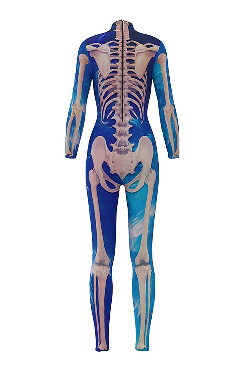 Selowin Women Cool Galaxy Human Skeleton Printed Halloween Costume Jumpsuit Bodysuit