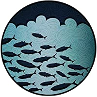 Printing Round Rug,Ocean Animal Decor,Surreal Graphic Ornate Swirl Waves and Group of Fish Nautical Theme Mat Non-Slip Soft Entrance Mat Door Floor Rug Area Rug For Chair Living Room,Blue Turquoise