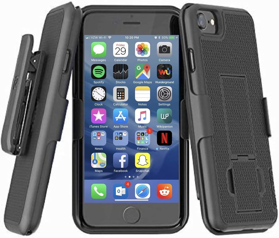 Black Encased DuraClip Seies Compatible with iPhone 12 Pro Max Belt Clip Case Slim Cover with Holster