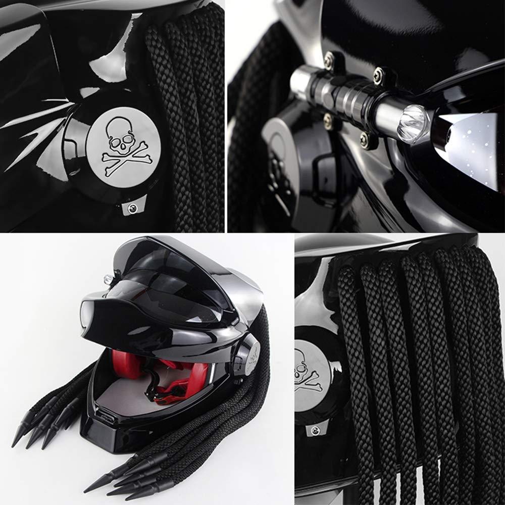 Cheveux Tress/és Casque De Motocross pour Visage Int/égral ZJRA D/évoilement du Casque De Moto Casque De Moto Predator Matte,M57~58cm LED Approuv/é par Le Dot