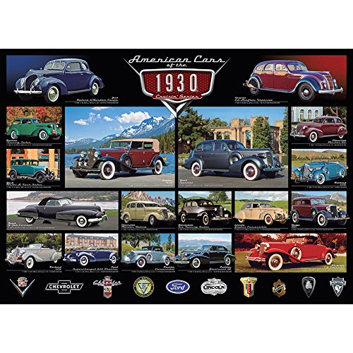 1930's American Muscle Cars 1000 Pc Puzzle - Chrysler Chevrolet Buick Ford