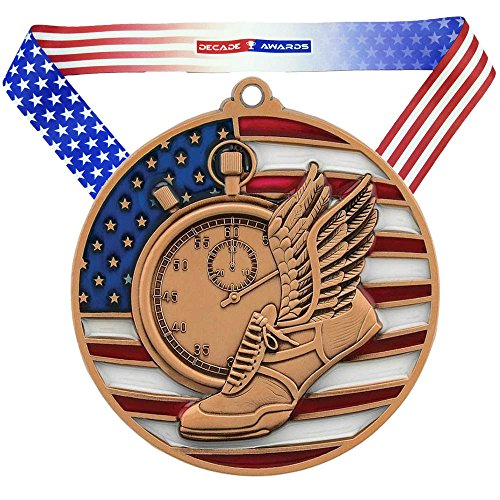 Decade Awards Track & Field Patriotic Medal, Bronze - 2.75 Inch Wide Third Place Medallion with Stars and Stripes American Flag V Neck - Ribbon Medallion